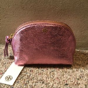 🆕 Tory Burch Pink Metallic Mini Cosmetic Bag